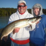Clients Luis and Deb from Seattle, WA with a nice 1st musky. 1st time musky fishing for either of them and Luis is on the board! Congrats! Half day outing Septemeber 2013