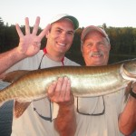 Fish 4 of 5 Clients John and Matt boated 5 muskies their first time musky fishing!  Half day trip Late June 2013