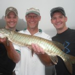 Client Dan Sr holding his first musky ever. Fish 1 of 2 on a late June 2013 trip with his two sons.  Nice work!