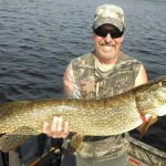 A huge northern WI Pike for Dave on a half day trip!  Late June 2014.