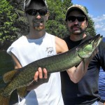 A nice first musky and a decent pike caught by this father-son duo on their first time ever musky fishing!  Late June 2014.